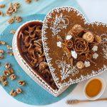Égetett cukor szív alakú doboz