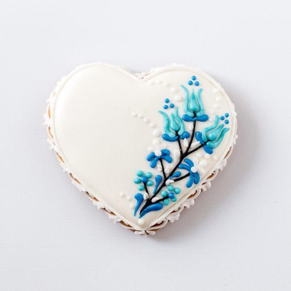 Mézeskalács Esküvői köszönetajándék kék tulipános motívummal