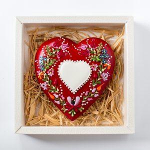 Mézeskalács szív kalocsai motívummal