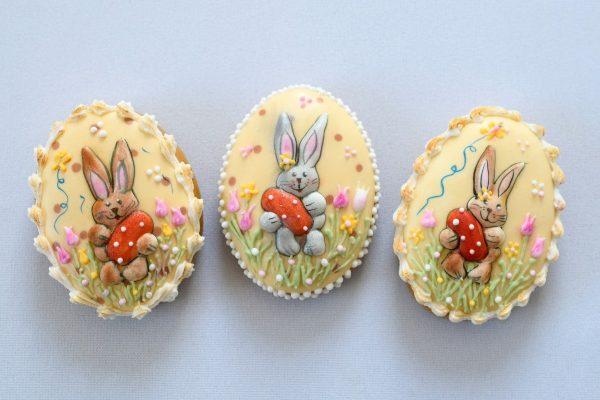 Nyuszi mintás húsvéti tojások
